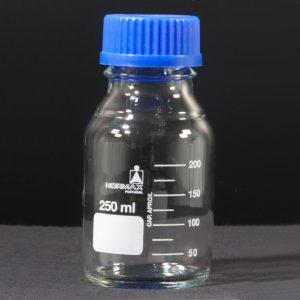 Frasco de laboratorio, vidro branco, tampa azul, 500 ml