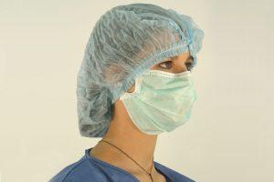 Máscara cirúrgica verde com elásticos, cx. 50 unid's