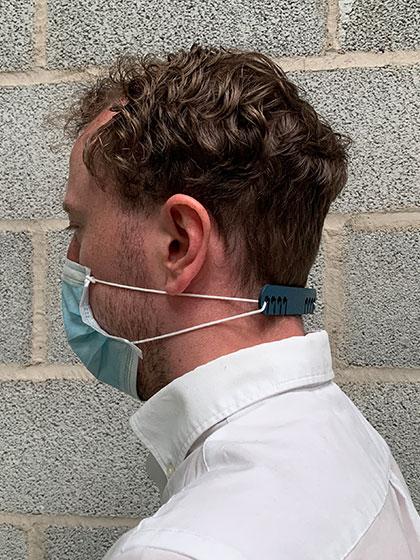 Suporte large detetável azul para máscara de elástico, cx. 10 unid's