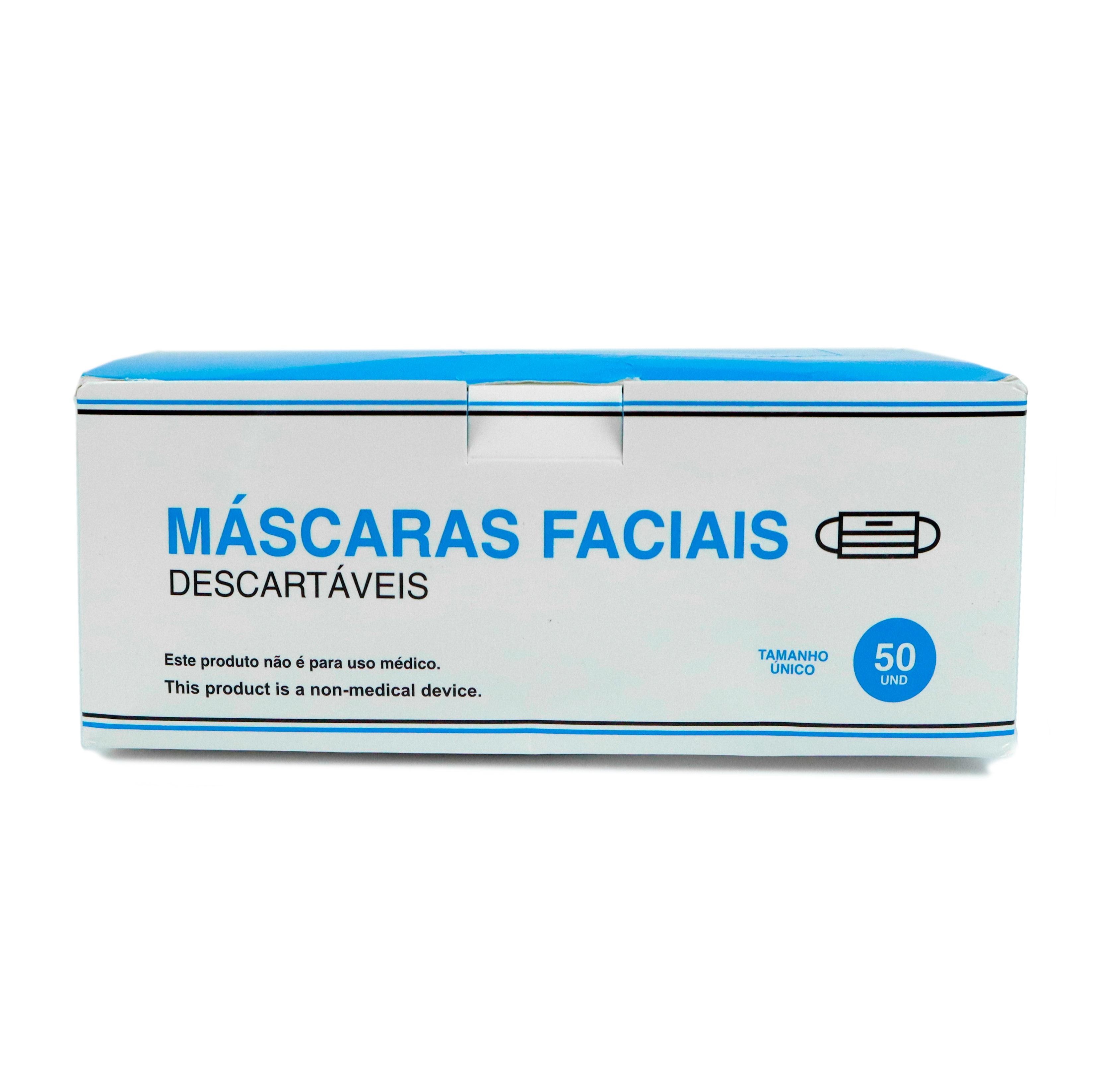 Máscara de proteção descartável (3 camadas), cx. 50 unid's